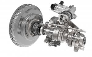 Mechanische und elektromechanische Teilsysteme des  5DCT130-Getriebes mit Doppelkupplung: Nahezu alle Bauteile  sind Serienprodukte etablierter Zulieferer