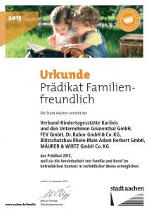 Urkunde - Prädikat Familienfreundlich 2015